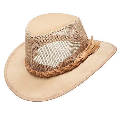 Mesh Cowboy Hat,Men's Golf Sun Hats Summer Wide Brim Safari Outdoor Caps (L(22 5/8-23inches), Natural)