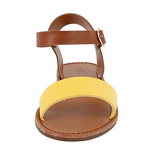 Donna Open Toe Cinturino Alla Caviglia Sandalo Flat Comfort Sandalo Piatto (8 M, Giallo Pu)