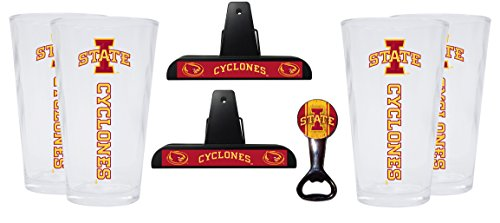 Iowa State Cyclones Kitchen Pack Set of 2 Chip Clips, 4 Pint Glasses & Magnetic Bottle Opener