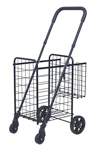 Compact Adjustable Utility Cart (Grocery Utility Shopping Cart Compact - Supenice (SN7502) Double Basket Long Handle Easily Collapsible Heavy Duty Light Weight Trolley with Rolling Swivel Wheels)