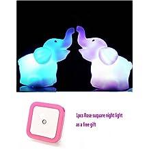 Zjskin 1 Pair (2pcs) Elephant LED Night Light with Battery