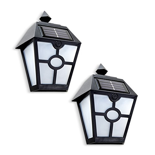 Collections Etc Black Wall Mount Decorative Solar Porch Light Coach-Style Lanterns, Set of 2 by Collections Etc