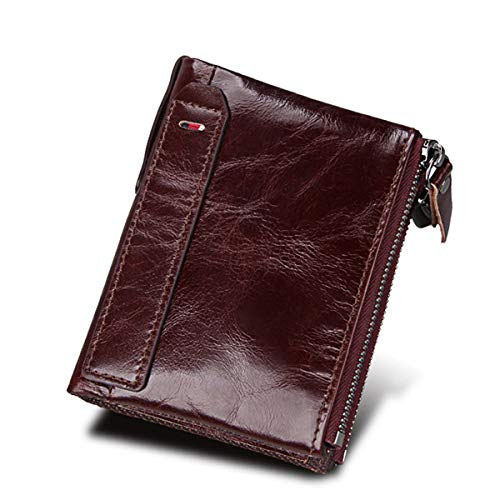 - LJYH reddish brown Men's crazy horse Leather Double Zipper Bifold Short wallet with RFID Blocking
