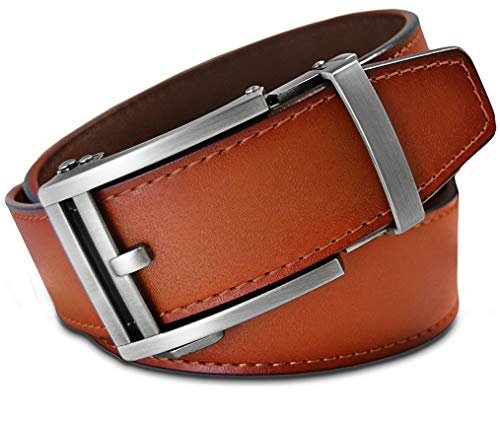 Men's Leather Ratchet Click Belt - Hemingway Matte Silver Buckle with Sienna Tan Leather Belt (Trim to Fit: Up to 33'' ()