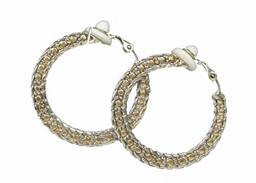 Vintage Style Silver & Goldtone Filigree Hoop Clip On/Non Pierced Earrings 1.25 in by WhimZ Girl Clip Earrings