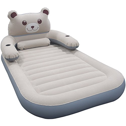 WeTong Cartoon Twin Size Air Mattress,Detachable Backrest Inflatable Firm Airbed with Electric Pump for Kids,Friends, Relatives ,Overnight Guests or Camping - Raised Mattresses