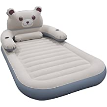WeTong Cartoon Twin Size Air Mattress,Detachable Backrest Inflatable Firm Airbed with Electric Pump for Kids,Friends, Relatives ,Overnight Guests or Camping Travel