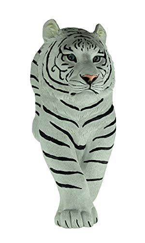 World Of Wonders Resin Wall Sculptures Silent Prowler Walking Siberian White Tiger Wall Sculpture 7.75 X 18.5 X 5.5 Inches White
