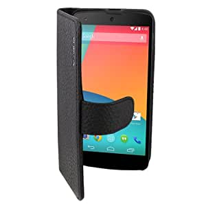 Suncia PREMIUM Leather2 Case / Cover / Cuero / Funda / Carcasa para Google Nexus 5 Clásico Negro