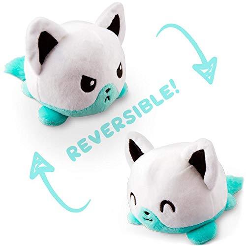 TeeTurtle Reversible Fox Mini Plush, White/Aqua ()