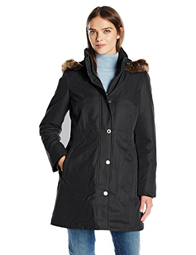 Anne Klein Women's Parka Puffer, Black, X-Small