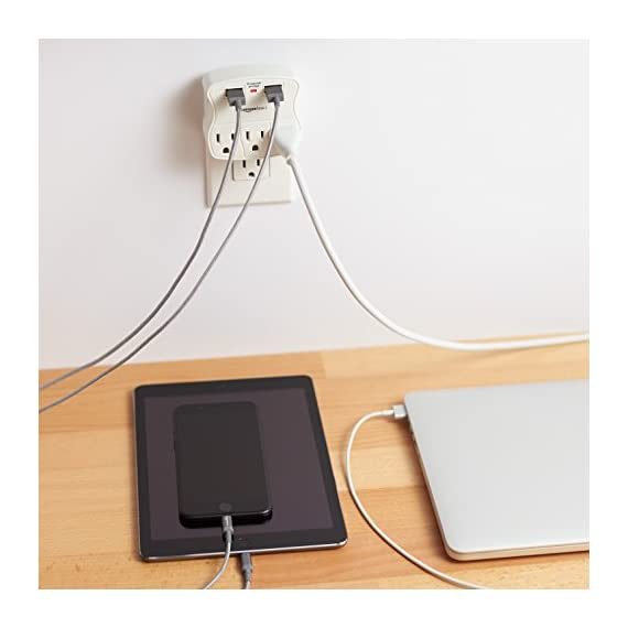 AmazonBasics 3-Outlet Surge Protector with 2 USB Ports 5 3-outlet surge-protector wall tap with 900 joules of surge protection Includes 2 USB ports-a 1.0A USB and 2.4A USB (great for charging a smartphone and tablet) Keeps plugged-in devices safe from excess voltage during an AC power surge