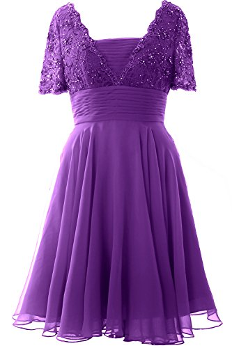 MACloth Women Short Sleeve Mother of the Bride Dress Lace Cocktail Formal Gown Morado