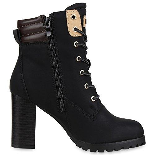 napoli-fashion Damen Schuhe Schnürstiefeletten Worker Boots Stiefeletten Block Absatz Jennika Schwarz