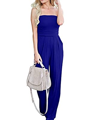 Imysty Womens Sleeveless Strapless Jumpsuits Wide Leg Rompers with Pockets