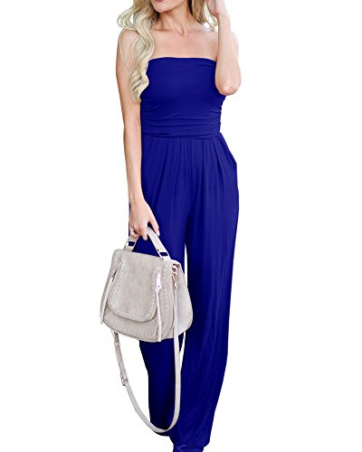 Imily Bela Womens Strapless High Waist Casual Ruched Wide Leg Jumpsuit with Pockets -