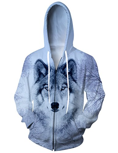 Uideazone Juniors Boys Girls 3D Print the Wolf Full-zip Hooded Sweatshirt Cool Long Sleeve Jackets With Big Pockets Tops