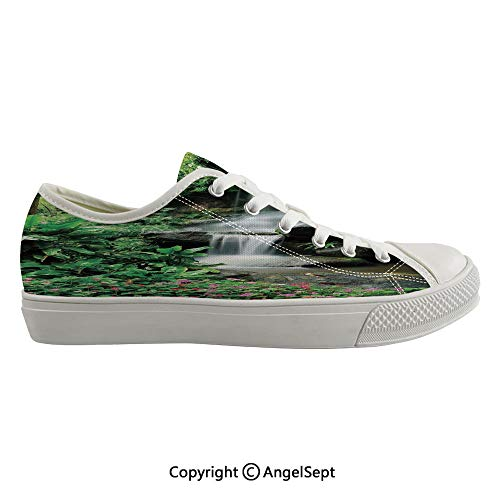- Durable Anti-Slip Sole Washable Canvas Shoes 16.14inch Waterfall Pond Flowers Tropical Plants Majestic Fresh Jungle Garden,Green Dark Brown White Flexible and Soft Nice Gift