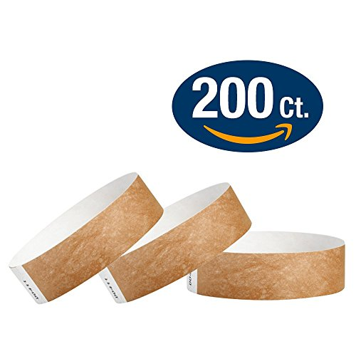 WristCo Mocha 3/4' Tyvek Wristbands - 200 Pack Paper Wristbands For Events