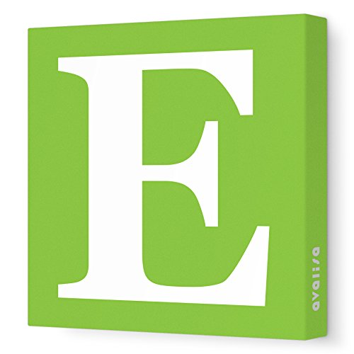 Avalisa Green - Avalisa Stretched Canvas Upper Letter E Nursery Wall Art, Green, 12