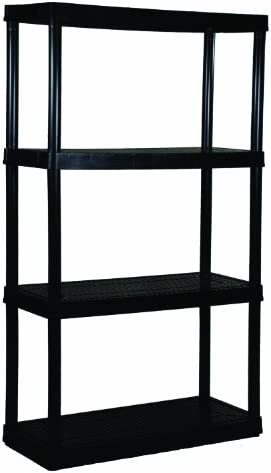 "Gracious Living 4 Medium Duty Shelf Unit, 32""X14""X54.5"", Black"