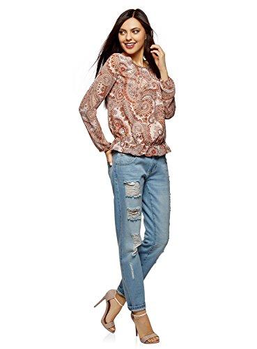4039e Arancione Lunghe Stampata Camicetta Collection Donna A Maniche Oodji xn4qwzg8C8