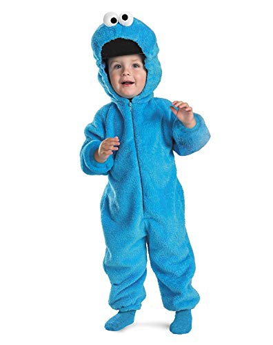 Halloween Costume Ideas For 3 Month Old (Sesame Street Cookie Monster Deluxe Two-Sided Plush Jumpsuit Costume - Small)