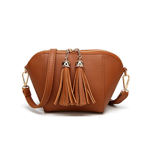Republe Shell Bag Bag Shoulder Crossbody Bags Girls Women Zipper Brown Double Ladies Messenger Fringe Tassel BxnxRI6