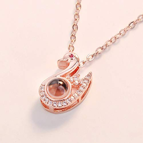 Haluoo 100 Languages Necklace I Love You Necklace Nano Projective Necklace Love Memory Necklace Swan Pendant Necklace Jewelry for Women Girls, Best (Rose Gold)