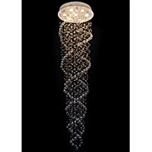 Ella Fashion® Modern LED Rain Drop Crystal Chandelier Luxurious Double Swirl Design Ceiling Fixture Pendant Flushmount Lighting for Living Room Foyer Entry way Hallway Corridor Stairs Stunning Lamp D20 X H73 Inches
