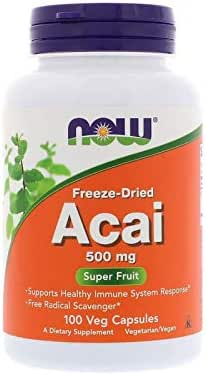 NOW Supplements, Acai 500 mg, Freeze-Dried Super Fruit with Polyphenols, Ellagic Acid, Rutin, Anthocyanins and Catechins, 100 Veg Capsules
