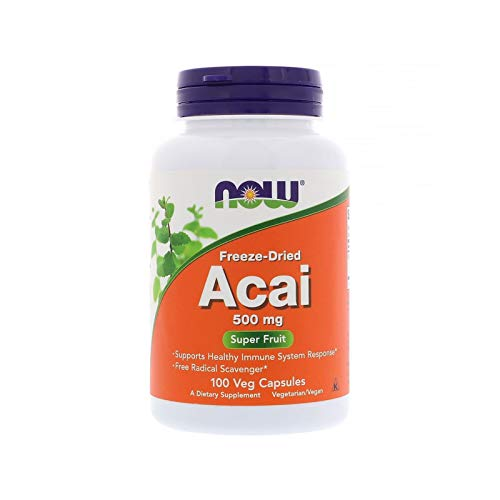 NOW Supplements, Acai 500 mg, Freeze-Dried Super Fruit with Polyphenols, Ellagic Acid, Rutin, Anthocyanins and Catechins, 100 Veg Capsules - Freeze Dried Acai Berry