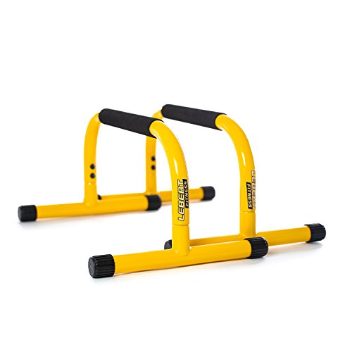 Lebert Fitness Parallettes Push Up Dip Stand, Yellow