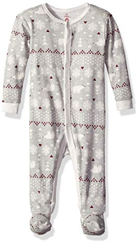 - Petit Lem Holiday Baby Footed Sleeper, Comfy, Cute and Cozy Softness, Light Grey, 6M
