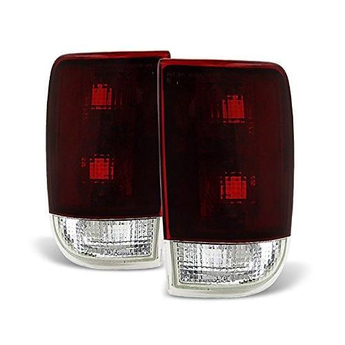 VIPMOTOZ OE-Style Smoke Red Lens Tail Light Housing Lamp Assembly Replacement For 1995-2005 Chevy Blazer GMC Jimmy Oldsmobile Bravada Driver and Passenger Side