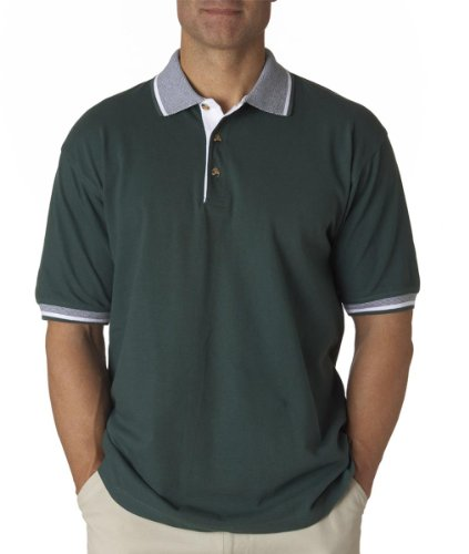 UltraClub Adult Color-Body Classic Pique Polo with Contrasting Multi-Stripe Trim - Forest Green/ White - L