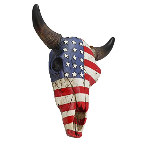 Top Brass USA Flag Faux Steer Bull Cow Skull - Wall Mount Head - Rustic Western American Art Decor -