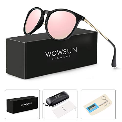 WOWSUN Polarized Sunglasses for Women Vintage Retro Round Mirrored Lens (Black Frame Light Pink Mirror Lens, 55) - Keyhole Twist