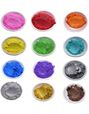 Epoxy Resin Mica Powder Pigment Set for DIY Soap Candle Slime Bath Bomb Making Colorant Lipstick Dye