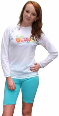 1a0b36371b12a Sun Emporium Girls Long Sleeve UV Sun Protective Rash Guard Swim Shirt and  Shorts 2 -