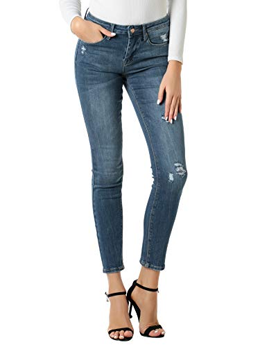 HONTOUTE Women's Classic Stretch Slim Fit Mid Waist Distressed Destroyed Ripped Jeans for ()