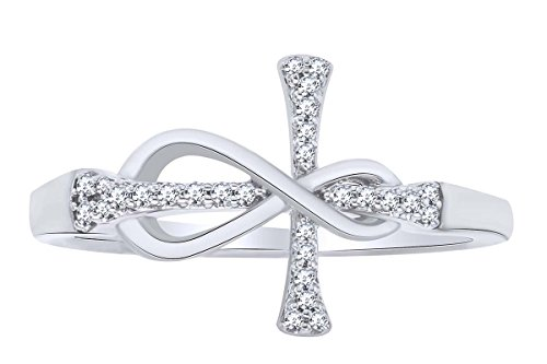 Round Cut White Natural Diamond Infinity Cross Engagement Ring In 10k Solid White Gold (0.10 cttw) Ring Size-10