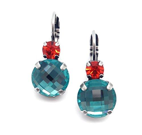 Aqua Brass Cut Collection - Mariana Silvertone Swaroski Crystal Aqua and Hyacinth Circle Cut Leverback Earrings 1104
