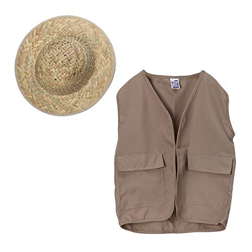 Kids Outdoor Safari Adventure Vest and Straw Pith Hat ()
