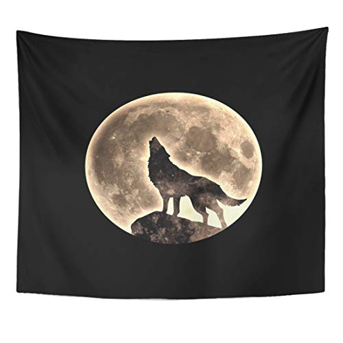 Semtomn Tapestry Halloween Black Werewolf Howling Wolf Full Moon Fullmoon Mystical Home Decor Wall Hanging for Living Room Bedroom Dorm 60x80 Inches