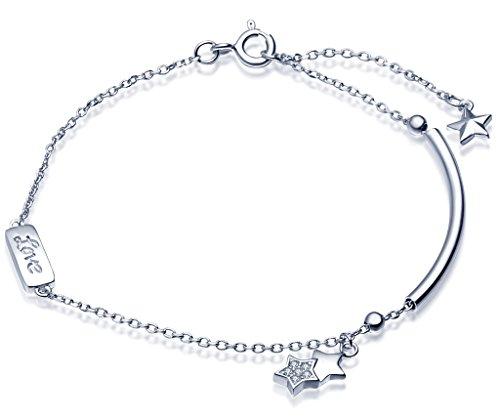 (Infinite U Women's Fine Cute Star Charm Bracelet 925 Sterling Silver Hand Chain,Adjustable,silver)