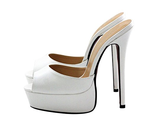 CAMSSOO Women's Fashion Stiletto High Heel Platform Peep Toe Slippers White Soft PU lTiq5