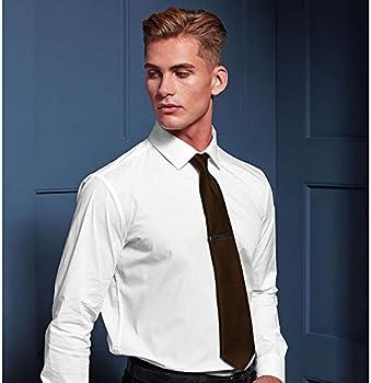Premier Tie - Corbata Lisa satinada estrecha Hombre Caballero - Trabajo (40 colores) (Talla Única) (Acero): Amazon.es: Ropa y accesorios