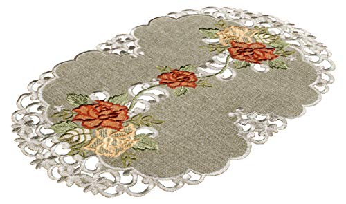 Linens, Art and Things Embroidered Placemat Dresser Scarf Coffee Table Scarf Gold & Rust Roses on Antique Green 12 x 18 Inch