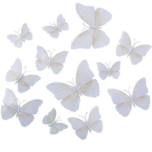 Butterfly Wall Decals - Butterfly Wall Stickers - 3D Butterfly Wall Stickers - Butterfly Wall Art - Wall Decals for Bedroom - White Butterfly Wall Stickers (12 pcs)